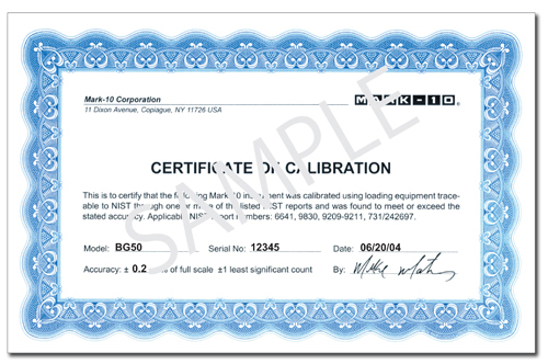 sample certificate of calibration